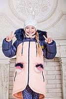 Зимняя куртка для девочки с натуральным мехом на капюшоне и разноцветными помпонами на карманах (5 цветов)