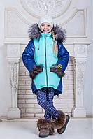 Зимняя куртка для девочки с мехом на капюшоне и карманах (5 цветов)