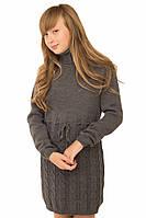 Вязаное платье для девочки темно-серый