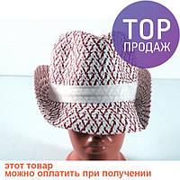 Соломенная шляпа Бевьер 28 см красно-белая / головной убор