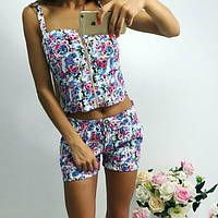 """Летний джинсовый женский костюм в цветочек """"Elmira"""" с шортами (6 цветов)"""