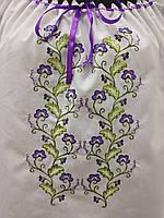 """Вышиванка дизайнерская блузка из белой х/б ткани с разноцветной машинной вышивкой блузка """"Роса сиреневая"""""""