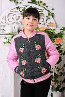 Демисезонная шерстяная  куртка декорированная вышитыми цветами