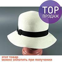 Соломенная шляпа Двадцатые 28 см светло-бежевая / головной убор