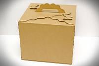 Коробка картонная для торта 30 см х 30 см х 25 см, Бурая