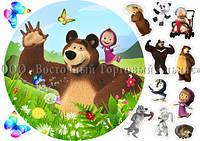 Печать съедобного фото - Ø21 см - Вафельная бумага - Маша и Медведь №39, фото 1