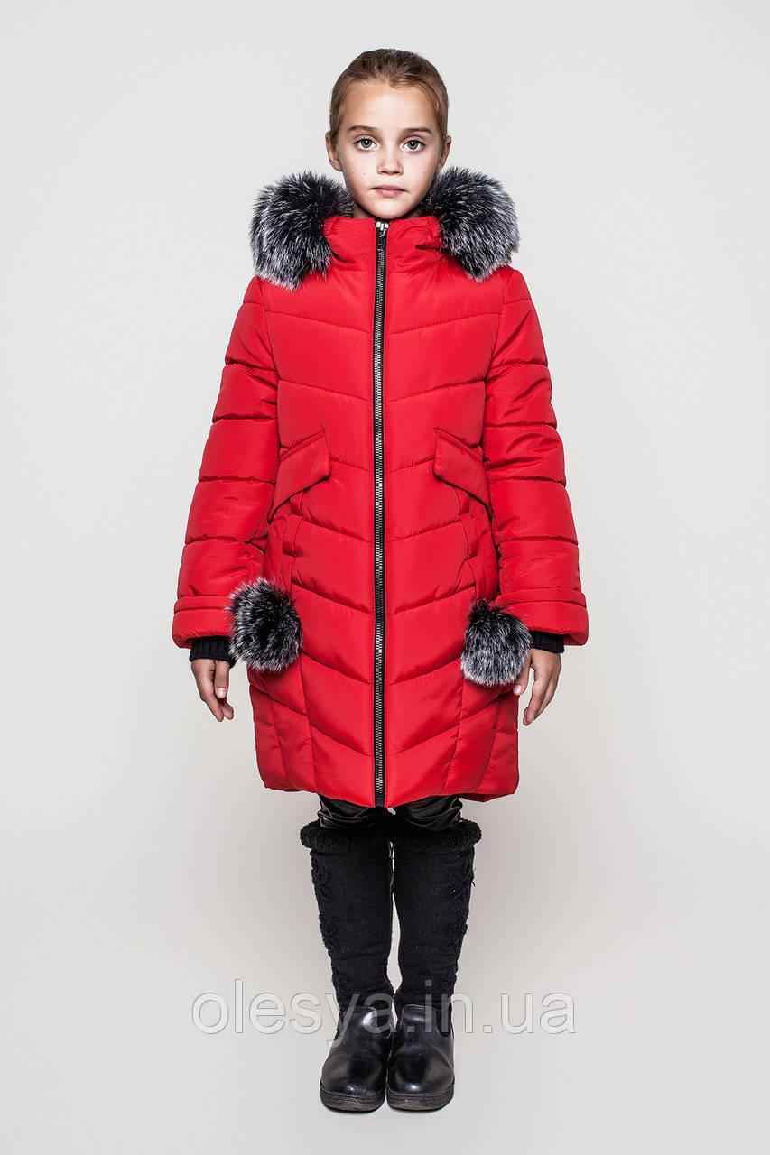Теплая зимняя куртка на девочку подростка Тина Размер 128