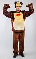"""Взрослый меховой карнавальный костюм """"Медведь"""" с варежками"""