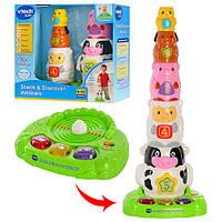 Детская развивающая игрушка - пирамидка для детей Vtech 143303, разноцветный, 45 см, животные 5 шт, музыка (английский), световые эффекты, звуки