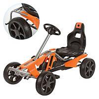 Детский педальный картинг 150327 ручной тормоз, колеса EVA, цепная передача, регулируемое сиденье, оранжевочерный, веломобиль, детская педальная