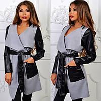 Женское пальто, кашемир+экокожа (42-48, норма) — купить дешево оптом от производителя в одессе 7км , фото 1