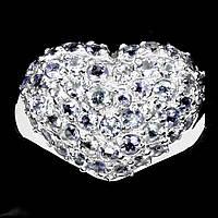 """Хорошенькое кольцо  с танзанитами  """"Сердечное"""" , размер 17.5  от студии LadyStyle.Biz, фото 1"""