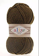 Пряжа полушерстяная Лана голд плюс  Lanagold Plus, № 214, оливковый зеленый