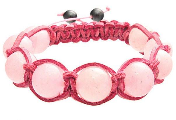 Кожаный браслет из натурального камня Кварц розовый shamballa