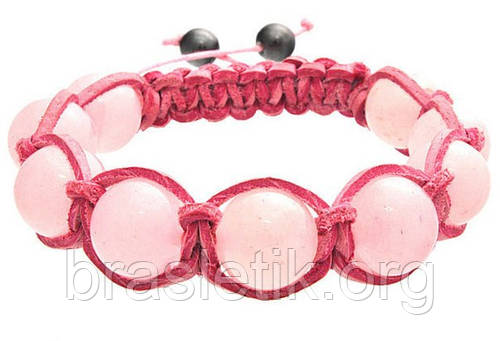 Кожаный браслет из кварца розового shamballa