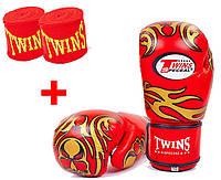 Перчатки для тайского бокса кожаные TWINS SPECIAL 10oz красные+бинты в подарок