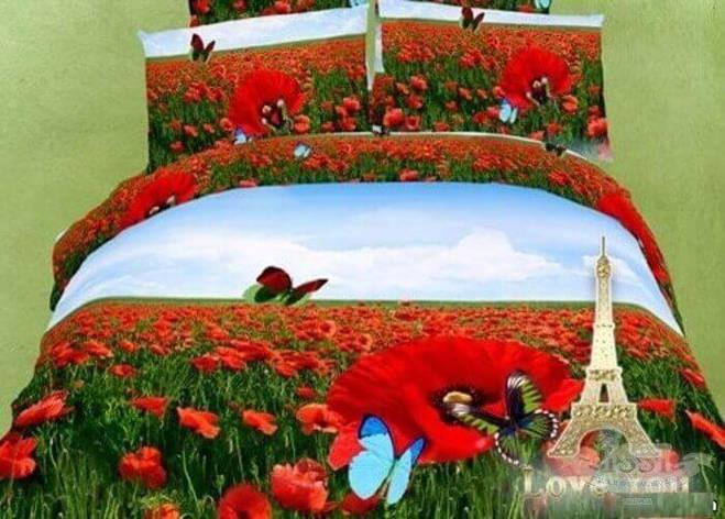 """Комплект постельного белья Love You сатин """"Маки"""" семейный (2 пододеяльника), фото 2"""