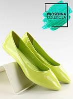 Зеленые гладкие лакированные женские балетки c30 36
