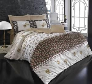 Комплект постельного белья Minteks Clover kahve двуспальный - евро