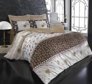 Комплект постельного белья Minteks Clover kahve двуспальный - евро, фото 2