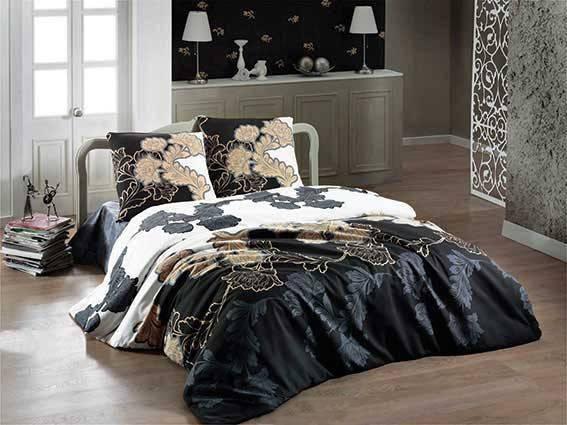 Комплект постельного белья Arya ранфорс Floblack Gri полуторный, фото 2