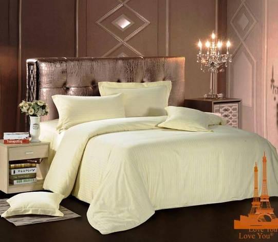 Комплект постельного белья Love You Страйп Кремовый семейный (2 пододеяльника), фото 2