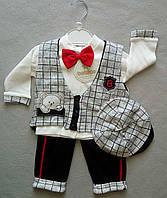 Нарядный детский костюм с бабочкой и жилеткой для новорожденного 0-18 мес Турция