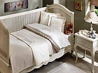 Комплект постельного белья + пике Tivolyo Home Baby Family Капучино детское