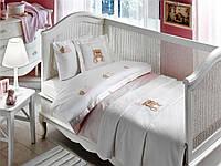 Комплект постельного белья + пике Tivolyo Home Baby LOVELY Розовый детское