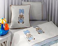 Комплект постельного белья Gelin Home ORGU + вязаный плед голубой, детское