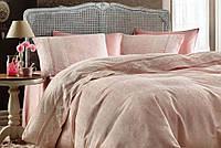 Комплект постельного белья Gelin Home жаккард с кружевом Nazli Розовый евро