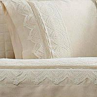 Комплект постельного белья Gelin Home жаккард с кружевом Nazli Кремовый евро