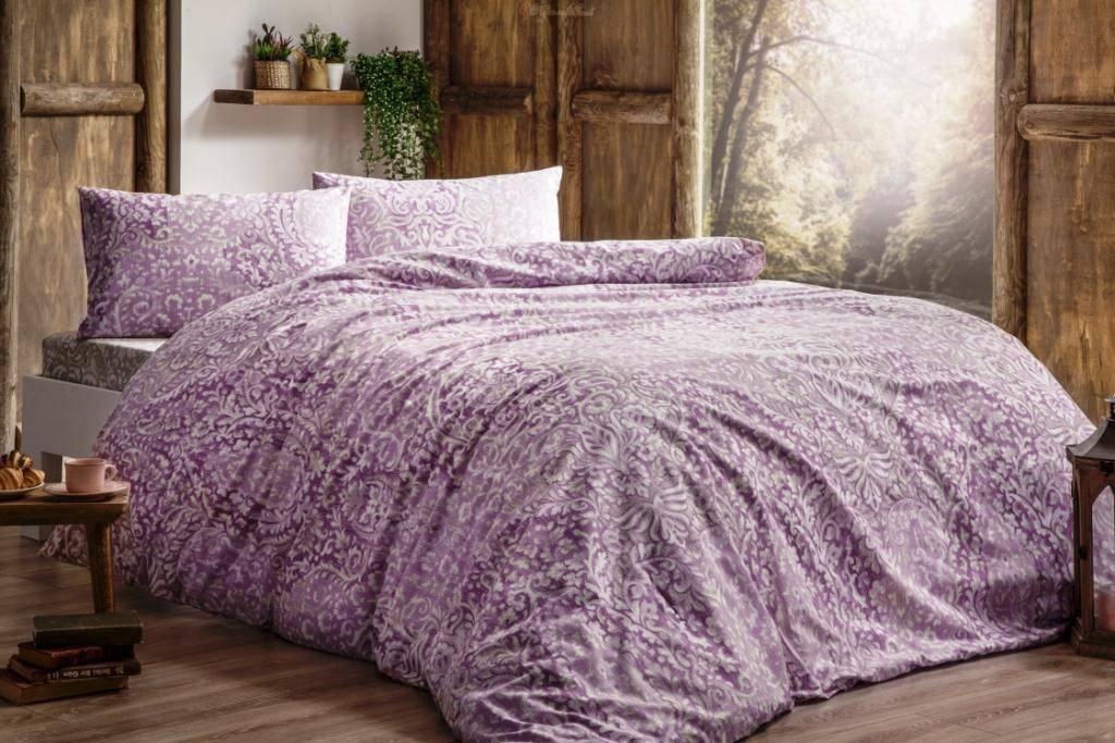 Комплект постельного белья Tivolyo Home DAMASK розовый двуспальный - евро