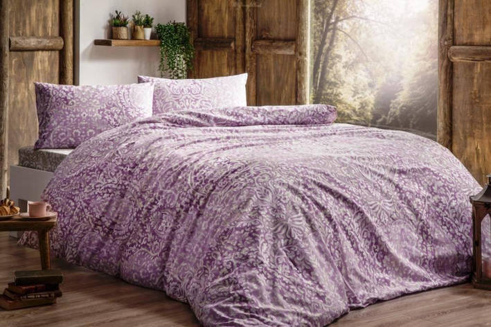 Комплект постельного белья Tivolyo Home DAMASK розовый двуспальный - евро, фото 2