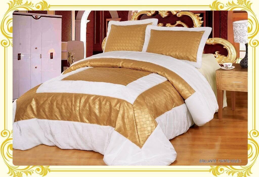 Покрывало ARYA BRILLANTE 250x260, бело-золотой