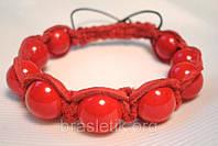 Кожаный браслет из коралла красного shamballa
