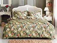 Евро сатиновое постельное Tivolyo Home Angelica цветочный рисунок