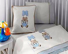 Комплект постельного белья Gelin Home + вязаный плед детское голубой