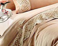 Постельное белье + покрывало Gelin Home Kelebek Бежевый евро