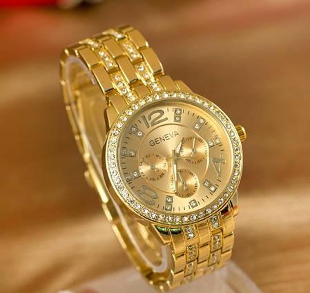 Часы женские Geneva Paidu Swarowski золото и серебро, фото 2