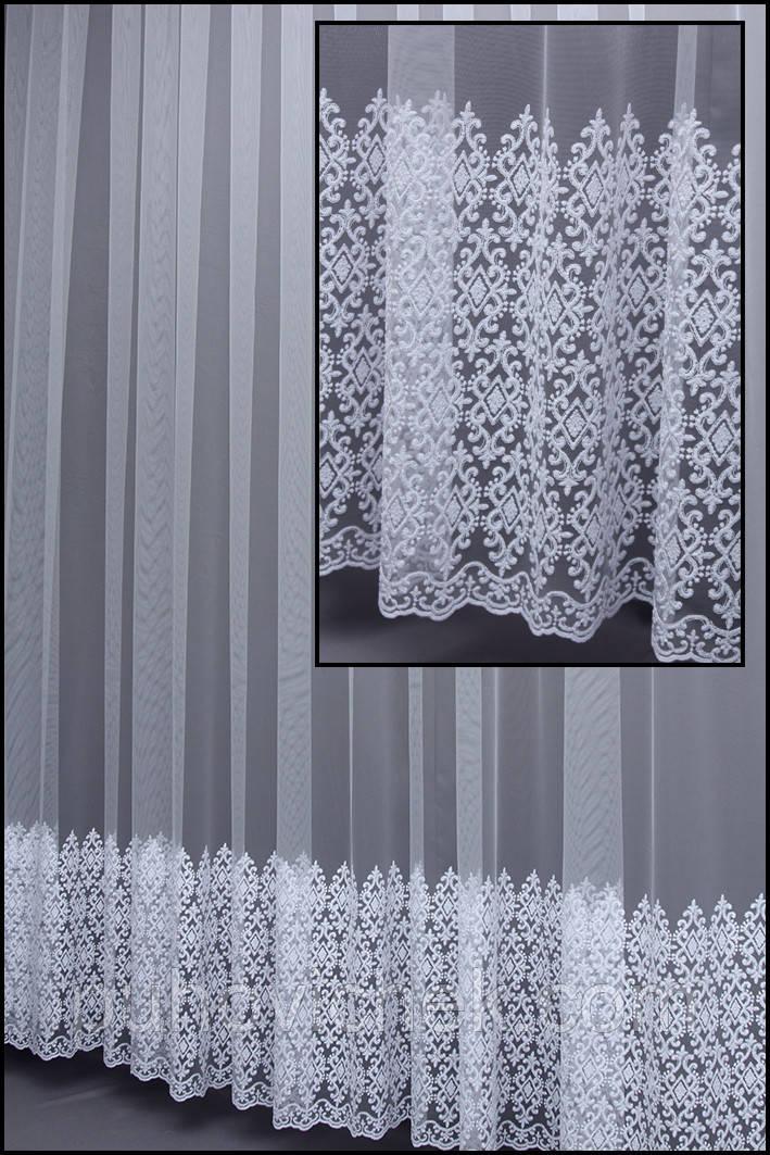 Готовая тюль белая с вышивкой
