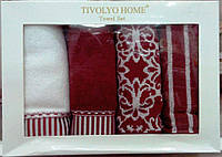 Набор полотенец Tivolyo Home CASABLANCA 4 шт. бордовый 40Х60