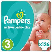 Подгузники Pampers Active Baby-Dry Midi 3 (4-9 кг) Giant Box Plus, 126 шт.