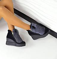 Зимние ботиночки с ушками натуральная замша, мех натуральный кролик, внутри натуральная шерсть