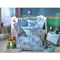 Комплект постельного белья HOBBY ранфорс Little Ship 10 предметов детское голубой