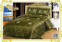 Красивое покрывало на кровать ARYA Bridge Зеленый 250x260