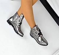 Демисезонные  ботиночки PP натуральная кожа, внутри байка. Цвет никель