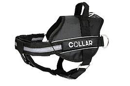 Шлея Police N5 85-115 см DogExtremе для собак з ліхтариком зі змінним написом чорна