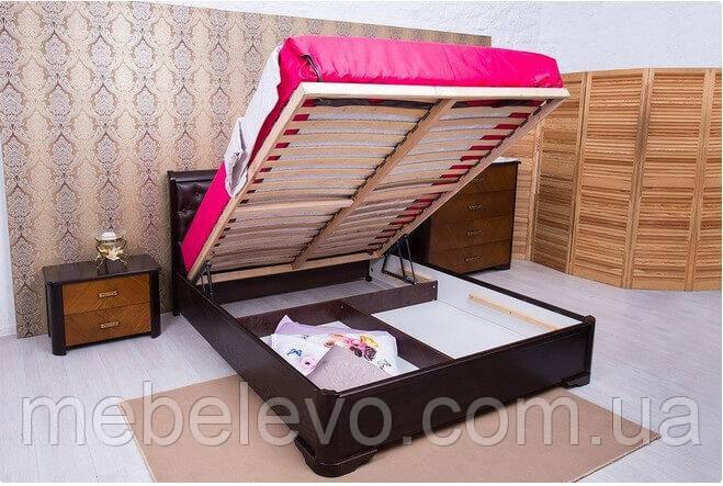 Кровать полуторная Прованс патина квадраты подъемный механизм 140 Олимп - фото 3