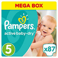 Подгузники Pampers Active Baby-Dry Junior 5 (11-18 кг) Giant Box Plus, 87 шт.